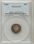 Barber Dimes: , 1894 10C Fine 15 PCGS. PCGS Population (8/225). NGC Census:(3/137). Mintage: 1,330,972. Numismedia Wsl. Price for problem ...