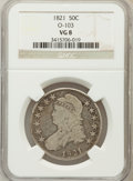 Bust Half Dollars, 1821 50C VG8 NGC. O-103. NGC Census: (4/507). PCGS Population(3/638). Mintage: 1,305,797. Numismedia Wsl. Price for proble...