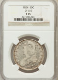 Bust Half Dollars, 1824 50C Fine 15 NGC. O-115. NGC Census: (18/835). PCGS Population(17/912). Mintage: 3,504,954. Numismedia Wsl. Price for ...