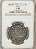 Bust Half Dollars, 1828 50C Square Base 2, Small 8, Large Letters XF40 NGC. O-117. NGCCensus: (17/182). PCGS Population (62/380). (#6151)...