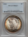 Peace Dollars: , 1922 $1 MS62+ PCGS. PCGS Population (8598/94495). NGC Census:(5016/152906). Mintage: 51,737,000. Numismedia Wsl. Price for...