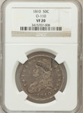 Bust Half Dollars, 1810 50C VF20 NGC. O-110. NGC Census: (9/548). PCGS Population(26/600). Mintage: 1,276,276. Numismedia Wsl. Price for prob...