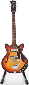 Musical Instruments:Electric Guitars, 1960's Kawai Double Cut Sunburst Semi-Hollow Body ElectricGuitar....