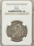 Bust Half Dollars, 1834 50C Small Date, Small Letters VF25 NGC. O-111. PCGS Population(19/848). (#6166)...