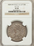 Bust Half Dollars: , 1828 50C Square Base 2, Small 8, Large Letters VF20 NGC. O-113. NGCCensus: (4/216). PCGS Population (4/498). (#6151)...
