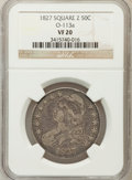 Bust Half Dollars, 1827 50C Square Base 2 VF20 NGC. O-113a. NGC Census: (10/1932).PCGS Population (22/1797). Mintage: 5,493,400. Numismedia W...