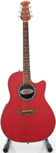 Musical Instruments:Acoustic Guitars, Applause by Ovation AE28 Red Acoustic Electric Guitar, #3708001....