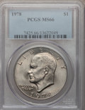 Eisenhower Dollars: , 1978 $1 MS66 PCGS. PCGS Population (336/5). NGC Census: (129/5). Mintage: 25,702,000. Numismedia Wsl. Price for problem fre...