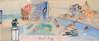 RAOUL DUFY (French, 1877-1953) Venise Imaginaire, circa 1948-50 Gouache on paper 10 x 23-1/4 inch