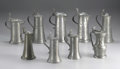 Silver Holloware, Continental:Holloware, A Group of Nine Pewter Flagons . Unknown makers, Germany.Nineteenth and Twentieth Centuries. Pewter. Unmarked. 7.25 in. t...(Total: 9 )