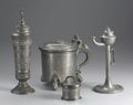 Silver Holloware, Continental:Holloware, A Group of Four Pewter Items . Unknown makers, Germany. Nineteenthand Early Twentieth Centuries. Pewter. Unmarked. 3.5 in... (Total:4 )