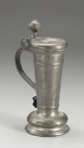 Silver Holloware, Continental:Holloware, A German Pewter Flagon. Unkown maker, Germany. 1734. Pewter.Unmarked. 9 in. high. Of inverse tapered form with waisted ...
