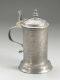 Silver Holloware, Continental:Holloware, A German Pewter Tankard. Unknown maker, Germany. EighteenthCentury. Pewter. Unmarked. 9.10 in. high. Of cylindrical for...