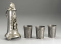 Silver Holloware, Continental:Holloware, A German Pewter Tankard and Three Beakers . Unknown makers,Germany. Nineteenth Century. Pewter. Marks: (angel with sword...(Total: 4 )