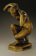 Sculpture, A French Gilt Bronze Figure: Flora Crouching. J. B. Carpeaux (French, 1827-1875). Gilt Bronze. 15in. x 8in. x 9in.. Signed...