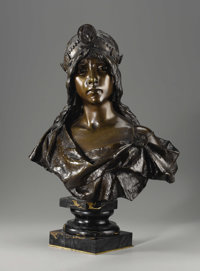 A French Bronze Bust: Julia  Emmanuel Villanis (French, 1858-1914) Circa 1900 Patinated bronze, marble Marks: E. VI