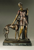 Decorative Arts, Continental:Other , A Bronze Figural Group: Woman with Greyhound. I. Gallo. Circa.1875.Bronze with patina. Numbered 4/30. Foundry mark to th...