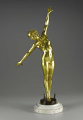 Sculpture, A French Gilt Bronze Figure: The Sword Dancer. F. Ouillon Carrere, French. Circa 1919. Patinated and gilt bronze, m...