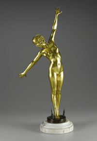 A French Gilt Bronze Figure: The Sword Dancer  F. Ouillon Carrere, French Circa 1919 Patinated and gilt bronze, m