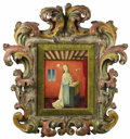 Fine Art - Painting, European:Contemporary   (1950 to present)  , French Painting Of The Annunciation. Bradi Barth (French).Mid-Twentieth Century. Oil on board. Marks: signed lower right ...