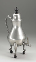 Silver Holloware, Continental:Holloware, A Dutch Pewter Coffee Urn . Unknown maker, The Netherlands.Eighteenth Century. Pewter and ebonized wood. Marks: indistin...
