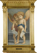 Fine Art - Painting, European:Contemporary   (1950 to present), Watercolor Of Two Angels. After Andrea Del Sarto (Italian,1487-1530). Twentieth Century. Watercolor on paper. Marks: plaq...