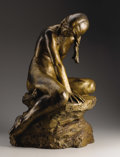 Fine Art - Sculpture, American:Modern (1900 - 1949), A Bronze Sculpture Of A Seated Girl. Maude Sherwood Jewett(American, 1873-1953). Circa 1916. Bronze with gold and black p...