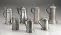 Silver Holloware, Continental:Holloware, A Group of Seven Pewter Tankards . Unkown makers, Germany andAmerica. Nineteenth and Twentieth Centuries. Pewter. Marks: ...(Total: 7 )