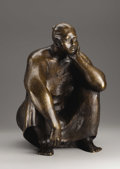 Fine Art - Sculpture, American:Contemporary (1950 to present), A Bronze Figure Of A Seated Woman. Armando Amaya (Mexican, 1935).1981. Bronze with brown patina. Marks: signed and dated ...