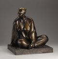Fine Art - Sculpture, American:Contemporary (1950 to present), A Bronze Figure Of A Seated Woman. Armando Amaya (Mexican, 1935). 1986. Bronze with brown patina. Marks: signed and dated ...