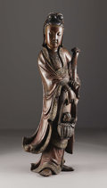 Fine Art - Sculpture, European:Antique (Pre 1900), A Chinese Carved Figure of Guanyin. Unknown maker, China.Circa 1890. Wood, lacquer and gilding. Unmarked. 47.5 in. hi...