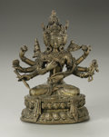 Fine Art - Sculpture, European:Antique (Pre 1900), Sino-Tibetan, circa 19th Century. Multi-armed Diety. Gilt Bronze.7in. x 5.75in. x 3in.. ...