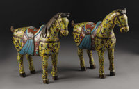A Large Pair Of Chinese Cloisonne Enamel Horses  Chinese Late Nineteenth/Early Twentieth Century 22 in. high (each)