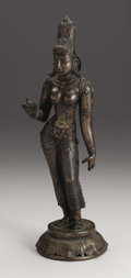 Fine Art - Sculpture, European:Antique (Pre 1900), Indian, circa 19th century. A figure of Parvati. Bronze. 13in. x4in. x 4in.. ...