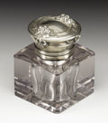 Silver Smalls:Other , An American Art Nouveau Glass and Silver Inkwell. Unknown maker,American. Circa 1900. Glass and silver. Marks: STERLIN...