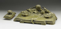 A French Bronze Inkstand And Blotter  A. Marionnet (French) Late Nineteenth/Early Twentieth Century Bronze Marks: impre...