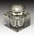 Silver Smalls:Other , A Russian Glass and Silver Inkwell. Unknown maker, Russia. Circa1900. Glass and silver. Marks: 84 below unidentifiab...