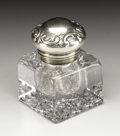 Silver Smalls:Other , An American Glass and Silver Inkwell. Gorham Manufacturing Company,Providence, Rhode Island. 1895. Glass and silver. Mark...