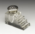 Silver Smalls:Other , An American Art Nouveau Glass and Silver Inkwell. Unger Brothers,Newark, New Jersey. Circa 1900-1910. Glass and silver. M...