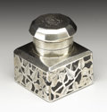 Silver Smalls:Other , An American Silver Overlay Inkwell. Unknown maker, American. Circa1900-10. Glass with silver overlay. Marks: SILVER ST...