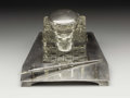 Silver Smalls:Other , An American Glass and Silver Inkwell and Tray. Dominick & Haff, New York, New York (Inkwell). Wm. B. Kerr, Newark, New Jer... (Total: 2 Item)