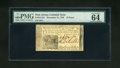Colonial Notes:New Jersey, New Jersey December 31, 1763 18d PMG Choice Uncirculated 64EPQ. Gemface margins and cardboard crisp paper are found on this...