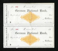 Miscellaneous:Other, Denver, CO- German National Bank Unused Checks Two Attached Examples 188_. The revenue stamp for these checks has been redee... (Total: 2 items)