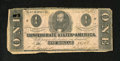 Confederate Notes:1862 Issues, T55 $1 1862. This CSA Ace exhibits a hole at left. Very Good....