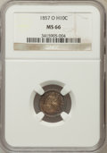 Seated Half Dimes: , 1857-O H10C MS66 NGC. NGC Census: (30/4). PCGS Population (10/4).Mintage: 1,380,000. Numismedia Wsl. Price for problem fre...