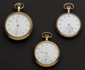 Timepieces:Pocket (post 1900), Two Elgin's & One Waltham Pocket Watches Runners. ... (Total: 3 Items)