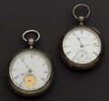 Timepieces:Pocket (pre 1900) , Two Illinois 18 Size Coin Silver Pocket Watches For Repair OrParts. ... (Total: 2 Items)