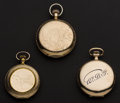 Timepieces:Pocket (post 1900), Hampden 16 Jewel Burlington 19 Jewel & Elgin 11 Jewel Pocket Watches. ... (Total: 3 Items)