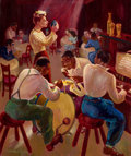 Fine Art - Painting, American:Modern  (1900 1949)  , A FRAMED CHARLES E. PRESTON (AMERICAN, 20TH CENTURY) OIL ON CANVAS:THE COTTON CLUB . New York, New York, 1941. Sign...