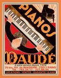Decorative Prints, European:Prints, A FRAMED ANDRE DAUDE (FRENCH, 1897-1979) LITHOGRAPH: PIANOS. Andre Daude, Paris, France, designed 1924. Marks: ...